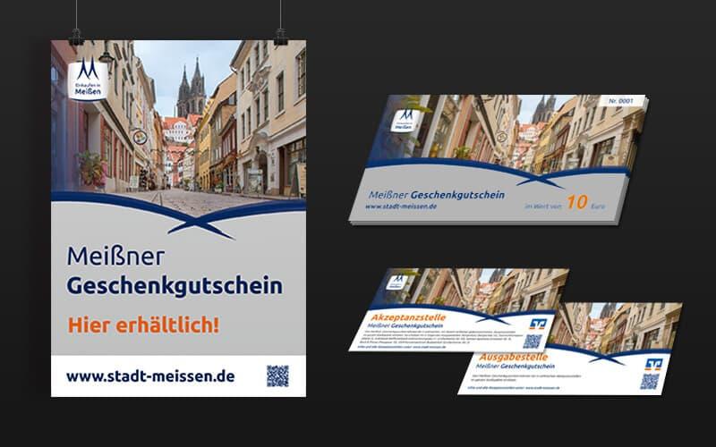 Geschenkgutschein und Plakate für Stadt Meißen