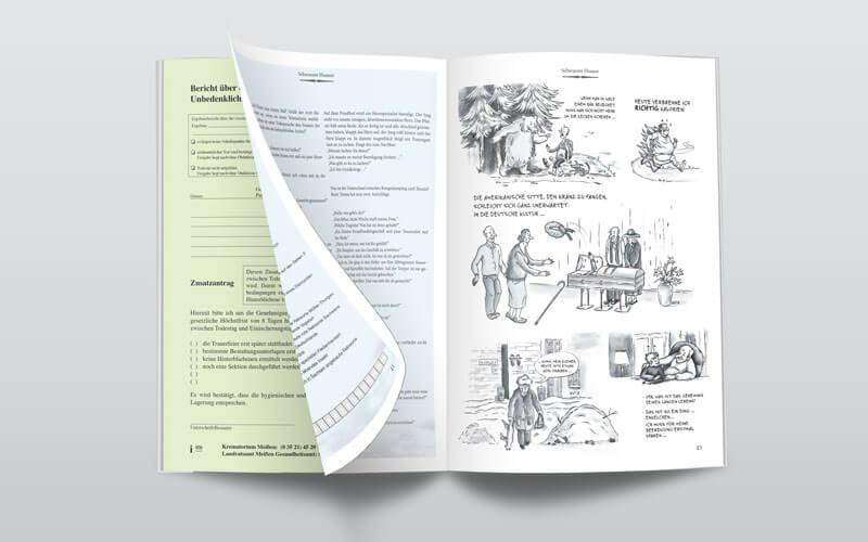 Broschüre und Karikaturen für Krematorium Meißen