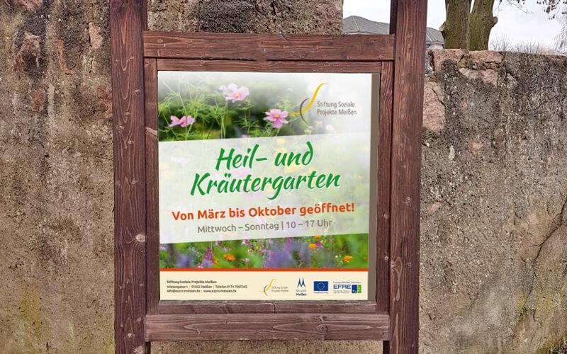 Schild für Heil- und Kräutergarten Meißen