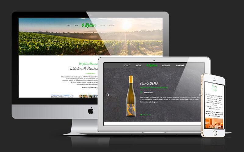 Webdesign für Weinbau & Pension 8 Zeilen