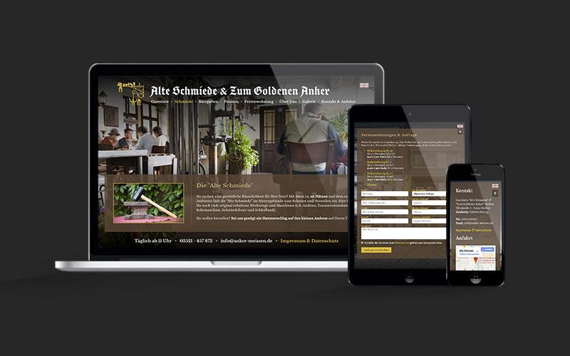 Webdesign für Alte Schmiede & Zum Goldenen Anker Meißen
